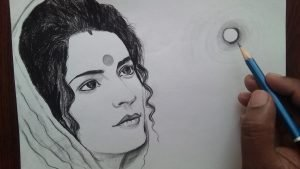 Pencil Drawing of Indian Women